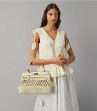 Tory Burch LEE RADZIWILL SMALL BAG in Yuca | chic neutral top handle bags | hand woven macramé pattern handbag | open detail handbags | womens luxe accessories