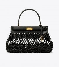 Tory Burch LEE RADZIWILL SMALL BAG in BLACK | chic woven bags