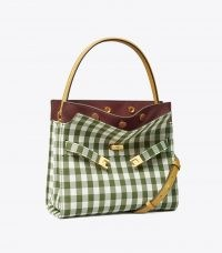 Tory Burch LEE RADZIWILL SMALL DOUBLE BAG Leccio in New Ivory Gingham / green checked handbags