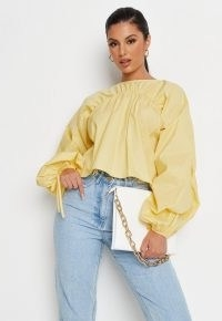 Missguided lemon poplin ruched balloon sleeve top   womens tops with voluminous sleeves   volume fashion