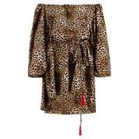 NARCES Leopard Mini Dress ~ brown animal print off the shoulder dresses ~ bardot fashion