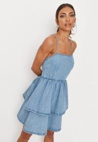 Missguided light blue cami frill hem denim dress | skinny strap dresses