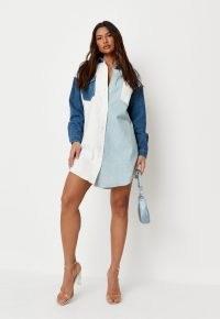 Missguided light blue contrast panel denim shirt dress | casual colour block dresses