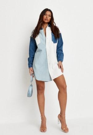 Missguided light blue contrast panel denim shirt dress   casual colour block dresses - flipped