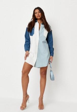 Missguided light blue contrast panel denim shirt dress   casual colour block dresses
