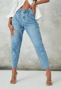 Missguided blue stonewash riot high rise ripped denim mom rigid jeans | women's distressed denim | tapered leg