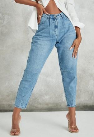 Missguided blue stonewash riot high rise ripped denim mom rigid jeans   women's distressed denim   tapered leg - flipped