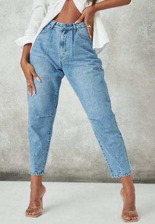 Missguided blue stonewash riot high rise ripped denim mom rigid jeans   women's distressed denim   tapered leg