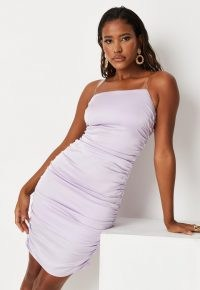 MISSGUIDED lilac clear strap ruched side satin mini dress ~ women's gathered on trend dresses