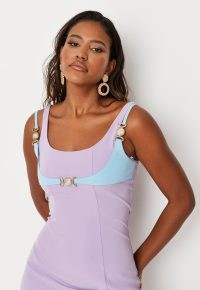 MISSGUIDED lilac contrast overlay mini dress