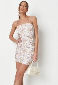 MISSGUIDED lilac floral mesh ruched strappy mini dress ~ skinny strap side gathered dresses