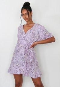 MISSGUIDED lilac floral ruffle wrap tea dress ~ frill trim tie waist dresses