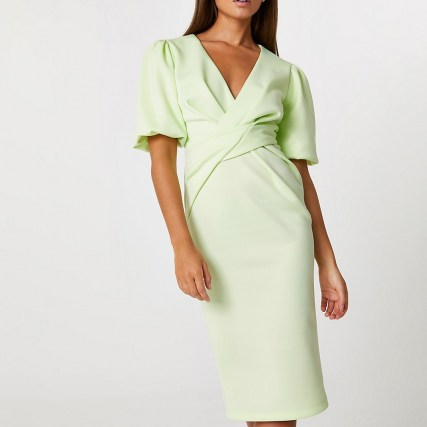 RIVER ISLAND Lime twist front bodycon midi dress ~ chic green puff sleeve dresses - flipped