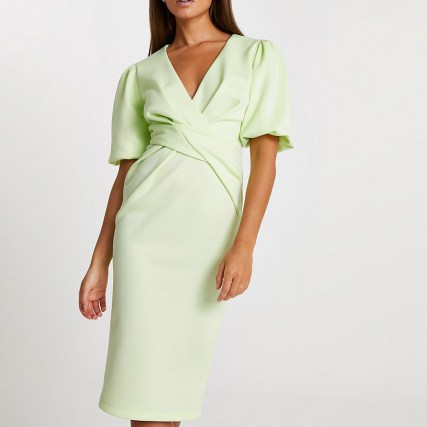 RIVER ISLAND Lime twist front bodycon midi dress ~ chic green puff sleeve dresses