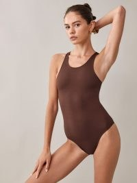 Reformation Lindsay Ecostretch Bodysuit / chestnut brown bodysuits