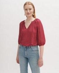 JIGSAW LINEN SILK MIX TOP ~ women's summer peasant tops