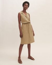JIGSAW LINEN TENCEL SHIRT DRESS / sleeveless tie waist utility dresses