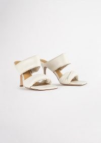 TONY BIANCO Lucy Dove Nappa Heels – padded double strap square toe mules