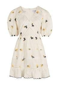 LUG VON SIGA Emma white embroidered linen mini dress | romantic puff sleeve summer dresses