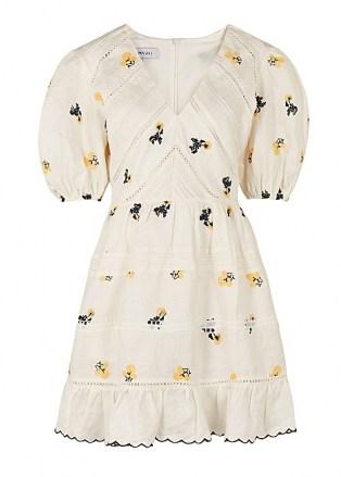 LUG VON SIGA Emma white embroidered linen mini dress   romantic puff sleeve summer dresses - flipped