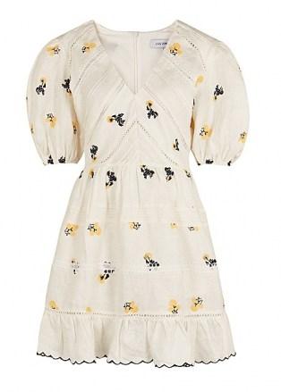 LUG VON SIGA Emma white embroidered linen mini dress   romantic puff sleeve summer dresses