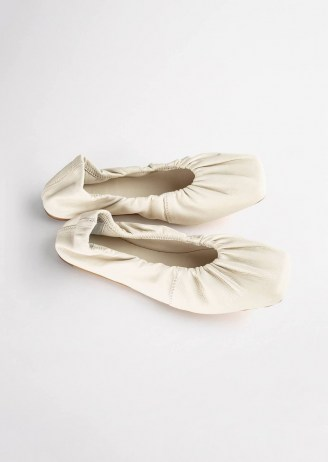 Tony Bianco Madame Dove Nappa Flats | smooth leather square toe ballet flat shoes