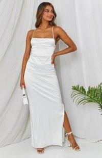 BEGINNING BOUTIQUE Manhattan Slip Formal Dress ~ spaghetti strap maxi dresses ~ womens strappy party fashion ~ evening glamour