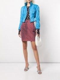 Marine Serre x The Webster moon-print denim skirt in tea rose | dark pink skirts