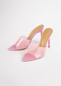 TONY BIANCO Marley Musk Vinylite/Musk Nappa Heels – pink clear strap pointed toe mules