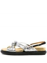 Marni metallic-sheen slingback sandals – silver flatform slingbacks