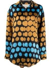 Marni spot-print shirt / women's bold polka dot printed curved hem shirts