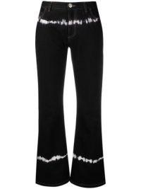 Marni tie-dye detail cropped black denim jeans