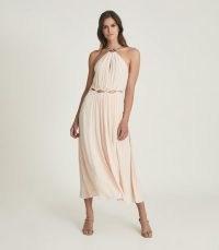 REISS MARTA RESORTWEAR MIDI DRESS PINK / glamorous floaty and feminine summer occasion dresses