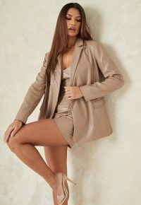 MISSGUIDED mauve co ord faux leather longline tailored blazer