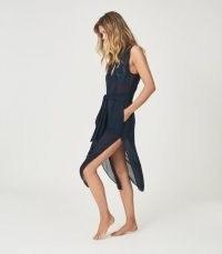 REISS MAYA RESORT SLEEVELESS SHIRT DRESS NAVY ~ dark blue poolside dresses ~ chic beach bar cover up ~ beachwear