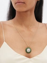 DUBINI Ariarthes VII silver-coin & 18kt gold necklace | womens ancient medallion pendant necklaces | women's fine jewellery | round pendants | green aventurine quartz