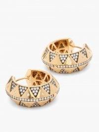 HARWELL GODFREY Chubby Talisman diamond & 18kt gold hoop earrings / wide ancient inspired hoops