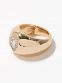 TIMELESS PEARLY Crystal-heart 24kt gold-plated ring / women's jewellery / rings / hearts