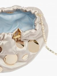 ROSANTICA Fatale Pois mini satin cross-body bag / luxe shimmering drawstring top crossbody bags