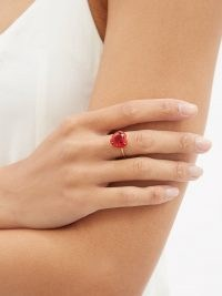 ALISON LOU Heart Cocktail ruby & 14kt gold ring | red gemstone rings | womens fine jewellery | hearts
