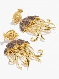 BEGUM KHAN Jellyfish crystal & 24kt gold-plated drop earrings ~ ocean inspired statement drops ~ sea creature jewellery ~ fish