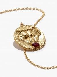 AZLEE Lion ruby & 18kt gold pendant necklace / women's round pendant necklaces / fine jewellery