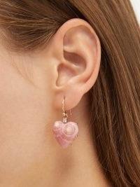 IRENE NEUWIRTH Love diamond & 18kt rose-gold earrings / pink heart-shaped rhodochrosite drops / womens luxe jewellery / hearts