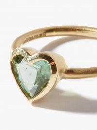 ONE OF A KIND IRENE NEUWIRTH Love tourmaline & 18kt gold ring ~ green stone rings ~ luxe jewellery