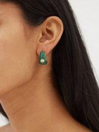 YVONNE LÉON Malachite, topaz & 9kt hoop earrings / green ridged hoops / fine luxe jewellery
