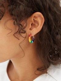 ALISON LOU Petite V 14kt gold & enamel hoop earrings | womens rainbow hoops | women's fine jewellery