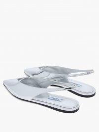 PRADA Daphne Gold Bow Slide / shiny silver flat slingbacks