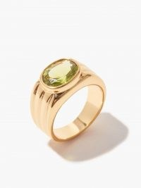 TIMELESS PEARLY Ribbed crystal & 24kt gold-plated ring / womens jewellery / green crystals / rings