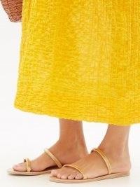 ANCIENT GREEK SANDALS Saita metal-strap leather slides | gold tone double strap flat sandal | metallic summer flats