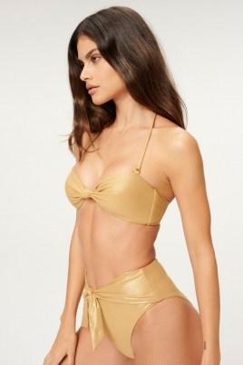 GOOD AMERICAN METALLIC SEXY TWIST BANDEAU ~ glamorous gold bikinis - flipped